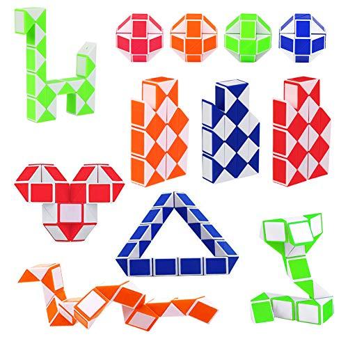 12 Piezas de 24 Bloques Juguetes de Rompecabezas Mágica Cubo de Serpiente Magic Snake Cube Twist Puzzle Mini Serpiente para Niños, Rellenadores de Bolsos para Fiestas (Color Aleatorio)
