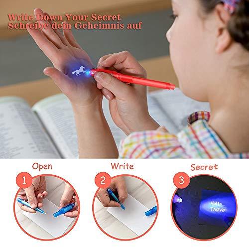14 Bolígrafo de Tinta Invisible y 5 Luces led de Dedo lápiz espía con rotulador mágico de luz UV para Mensajes Secretos y Fiestas para Cumpleaños Infantiles Festival de Música Fiesta (14 Bolígrafos)