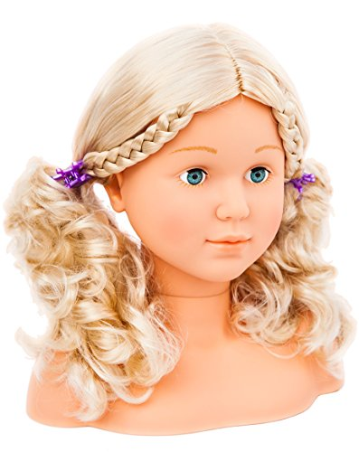 90005AB Bayer Design, Busto muñeca peinar y maquillar con assessorios, Cabeza para Maquillar, cabello rubio