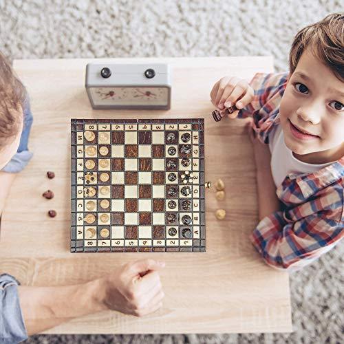Amazinggirl Ajedrez de Madera y Backgammon y Damas Tablero - 3 en 1 Juego de Ajedrez Profesional para Niños y Adulto, Piezas Grande Plegable y portátil 35 x 35 cm