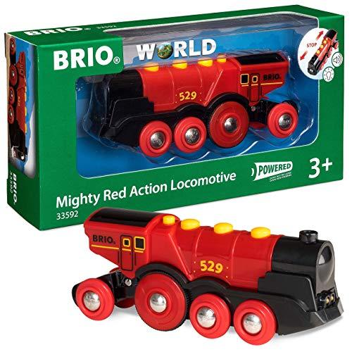 BRIO-33592 Gran Locomotora a Pilas con luz y Sonido, Color Negro, Rojo (RAVENSBURGER 33592)
