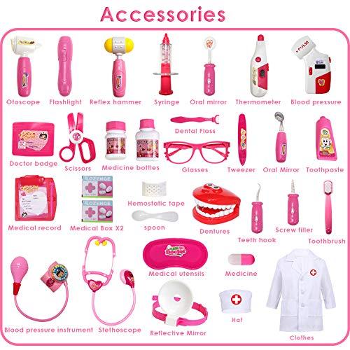 Buyger 35 Piezas Maletin Medicos Dentista Juguete Disfraz Doctora Enfermera Juguetes Juegos de rol para Niñas (Rosa)