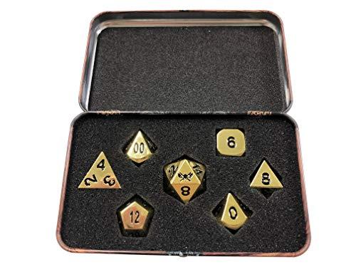 Calavera divisor dados dados de Metal color Dorado con Negro Números | sólido y de metal Polyhedral Juego de rol (RPG) dados Set (7morir en unidades) con impresionantes Dwarven pecho dados caso