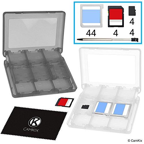 CAMKIX 2X Caja de Juego, Compatible con Nintendo 3DS - Se Adapta a hasta 44 Juegos, 4 Tarjetas SD, 4 Micro SD/TF y 4 lápices Stylus - Juego de Tarjetas Organizador - Blanco y Negro