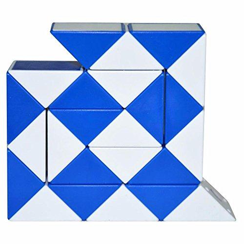 Coolzon® Puzzle de Serpiente Mágica Snake Plegable Rompecabezas Tocer Cubo de 24 Secciones,Blanco(Azul)