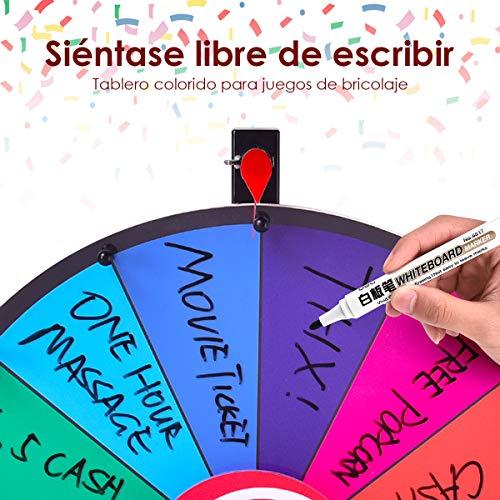 COSTWAY Ruleta de la Suerte Juego de Mesa con Soporte Puede Escribir y Limpiar con Pluma Borrable para Boda Fiesta Juguete Rueda (24 Pulgadas)
