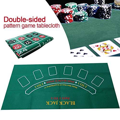 cuckoo-X Paño de Mesa de Ruleta de Blackjack de Doble Cara, tapete de Mesa de Juego no Tejido a Prueba de Agua Diseño de Mesa Tapete de Juego, Accesorios para Juegos de Cartas