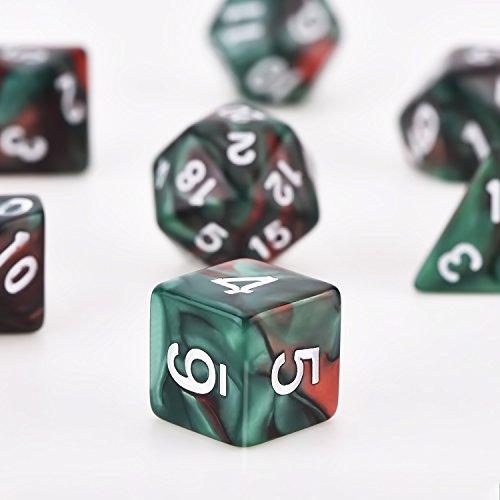 Dados Poliédricos Set de 7-Dados para Dungeons y Dragons con Bolsa Negra (Rojo Verde)