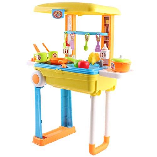 deAO Pequeño Chef Set de Cocinita Plegable en Maleta Convertible Maletín de Juegos con Accesorios, Luces, Sonidos (Azul) , color/modelo surtido