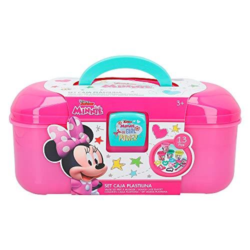 Disney Kit caja plastilina Minnie con 4 botes de 114 g accesorios y tapete (Colorbaby 77181)