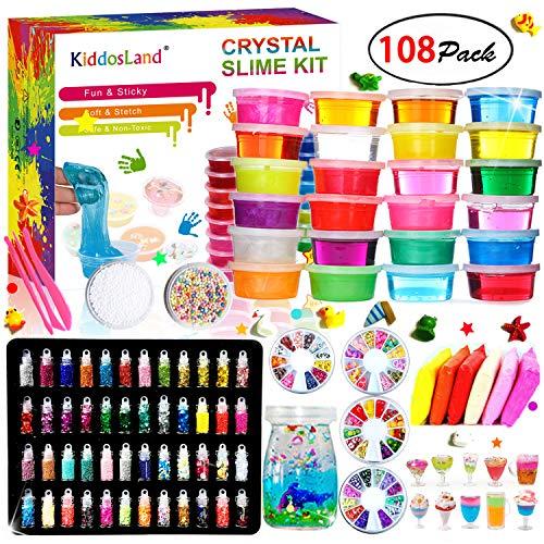 DIY Slime Kit - 24 Colores Kit de Slime Esponjoso con 48 brillantinas, Suministros de Slime Claro para niños, Incluye Arcilla Seca al Aire, rebanadas de Frutas y Herramientas