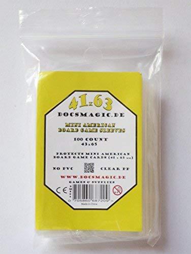 docsmagic.de 100 Mini American Board Game Sleeves - 41 x 63 - Small US - 43 x 65