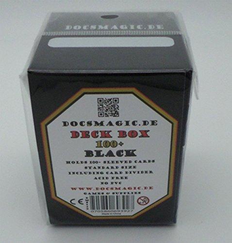 docsmagic.de Deck Box Big + 100 Mat Black Sleeves Standard - Caja & Fundas Negra - PKM - MTG