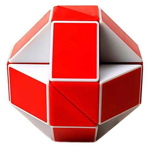 EASEHOME Serpiente Magica Rompecabezas Cubo Mágico, 24Parts Snake Speed Puzzle Cube PVC Pegatina Magic Cubes Twist Juguete Juego Educación para niños y Adultos, Blanco Rojo