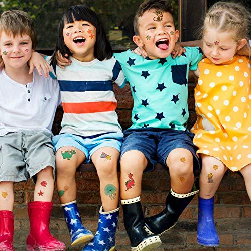 EKKONG Tatuajes Temporales para Niños Niñas, 40 Hojas Tatuajes Falso de Unicornio y Dinosaurio y Pirata y Sirena, Cumpleaños de Niños Infantiles Fiesta