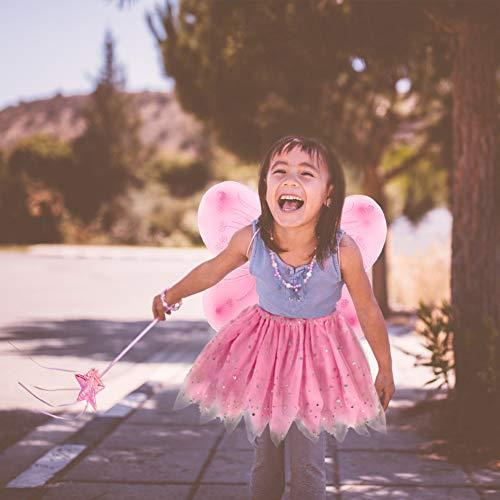 EQLEF Traje de Hadas para niños, alas de tutú Alas de Mariposa fijadas Traje de alas de Princesa de Hada para niñas Traje de Fiesta para niñas ( Rosa)