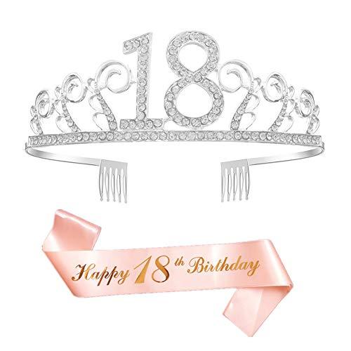 Feliz Cumpleaños 18th,18th Plata Cristal Tiara Corona de Cumpleaños, Banda de Satén Brillante Rose Gold 18th Birthday Sash, Regalo de 18 Cumpleaños