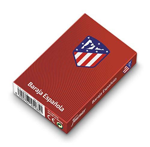Fournier Oficial del Atlético de Madrid Conjunto de Mus para Regalo en Caja de Madera con Baraja de Cartas Española y Amarracos, Colchonero