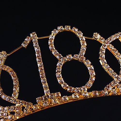 Frcolor Tiara de cumpleaños, coronas de diamantes de decima cumpleaños Coronas de cumpleaños feliz de 18 años (oro)
