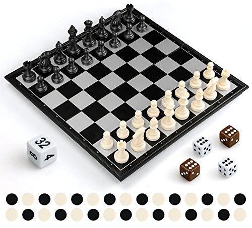 Gibot 3 en 1 Tablero de ajedrez,31.5CM x 31.5CM Tablero de Ajedrez Magnético con Ajedrez,Verificadores,Backgammon para niños y Adulto,Tablero de Juego Plegable y Portátil para Viajar,Blanco y Negro