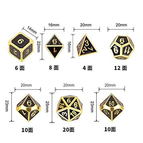 Guoyy Juego De 7 Piezas De Dados De Metal Dados Poliédricos De Juego DND Conjunto De Dados D&D para Juego De rol Enseñanza