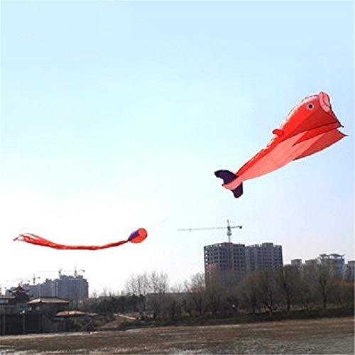 InChengGouFouX Cometas Coloridas Divertidas Dolphin Gigante Cometa con Cola de 2,6 m al Aire Libre Juega Deportes Diversión para niños y Adultos (Color : Orange, Size : One Size)