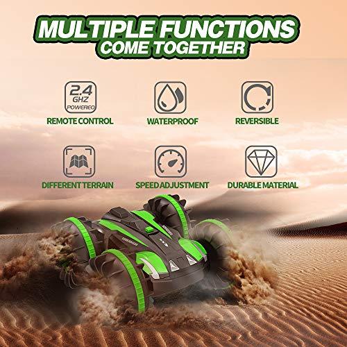 Joyjam Coche teledirigido Anfibio, Stunt Car Impermeable Anfibios con 2 Lados de conducción en Agua y Tierra Coche radiocontrol Electric Juguetes para niños Verde
