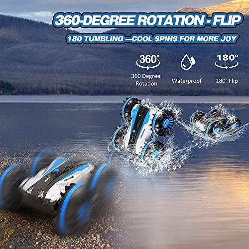 Joyjam Coche teledirigido Anfibio, Stunt Car Impermeable Anfibios con 2 Lados de conducción en Agua y Tierra Coche radiocontrol Electric Juguetes para niños Azul