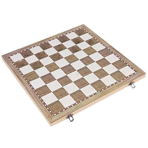 Juego de Tablero de ajedrez de Madera Plegable para niños Adultos 3 en 1, Juegos de ajedrez de Viaje portátiles Damas de Backgammon Toy Chessmen Entertainment Game Board