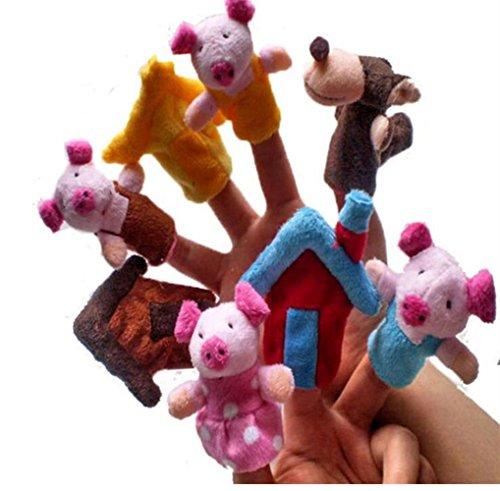 Juguetes para Bebé Marionetas de Dedos Diez Piezas Los Tres cerditos y La Tortuga y los niños liebres Puppets Finger