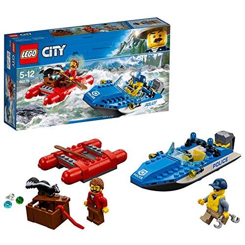 LEGO City Police - Huida por Aguas Salvajes, Juguete de Policía de Construcción y Aventuras para Niños y Niñas de 5 a 12 Años, Incluye Minifiguras y Barcas (60176)