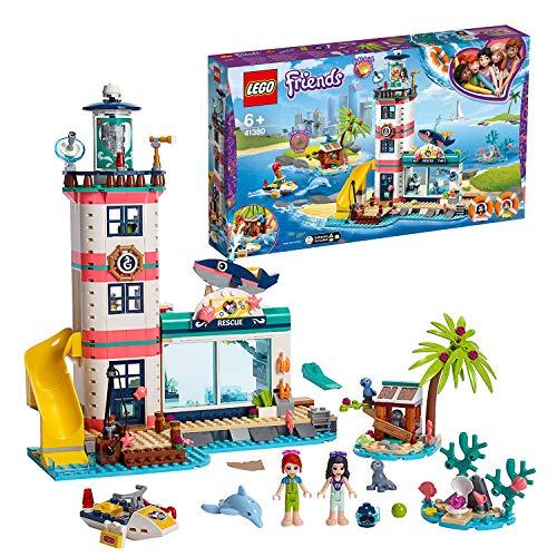 LEGO Friends - Centro de Rescate del Faro Nuevo set de construcción de Colorido Edificio con Tobogán de Juguete y mini muñecas para Recrear Aventuras en la Costa (41380)