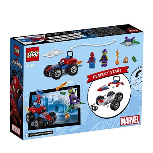 LEGO Super Heroes Persecución en coche de Spider-Man, set de construcción de aventuras del Hombre Araña, incluye minifigura de El Duende Verde y su Planeador (76133)