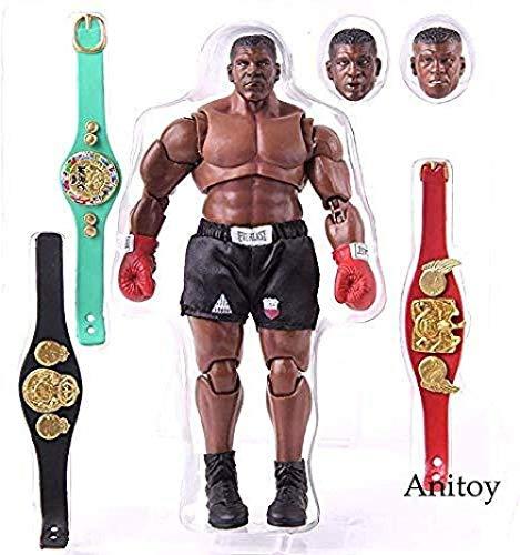 lkw-love Rey del Boxeo Mike Tyson Figura Boxer con 3 Cabezas Esculpe Escala 1/12 Figura de acción Tormenta Coleccionables Modelo de Juguete