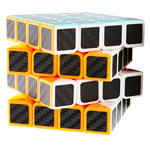 LSMY Speed Cube 4x4x4, Puzzle Mágico Cubo Carbon Fiber Sticker Toy