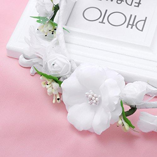 LUOEM Velo de la guirnalda de las flores de las muchachas primera decoración de la boda de la venda del velo de la comunión (blanco)