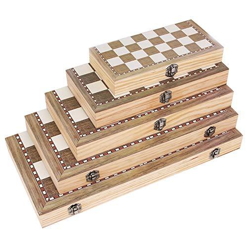 MCLseller Juego de ajedrez de Madera 3 en 1 con Caja de Almacenamiento de Tablero de ajedrez Plegable, Juego de Backgammon de Damas, Juego de ajedrez para Principiantes para niños y Adultos