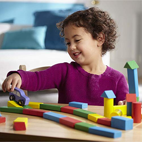 Melissa & Doug Piece Wood Blocks Set Bloques de Madera 100 Piezas, Color Azul, Verde, Rojo, Amarillo (10481)
