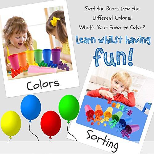MYCeator - Juego de 71 piezas de osos de conteo de arcoíris con tazas de clasificación y pinzas a juego - Juego de juego de colores de Montessori Rainbow - Juguetes educativos para niños pequeños