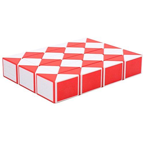 MZStech Magic serpiente Twist Puzzle Twisty Toy Colección 48 cuñas Magic Ruler (rojo)
