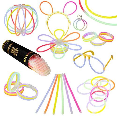 Pack de Varitas Luminosas para Fiestas HotLite (Total 216 piezas) - 100 20 cm pulseras, collares, kits para crear gafas, pulseras triples, una diadema, pendientes, flores, una bola luminosa Premium y mucho más!