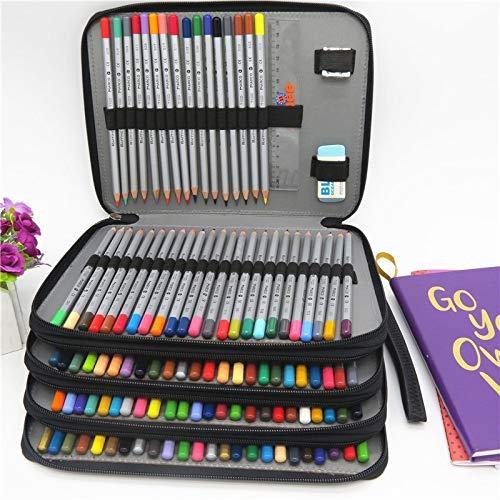 para la Escuela Lwq Cuero de la PU Caja de lápiz de la Escuela de 184 Agujeros de Gran Capacidad de Color pencilcase Arte lápiz Bolsa Caja Multi-Funcional Fuentes del Regalo (Negro) wangrui
