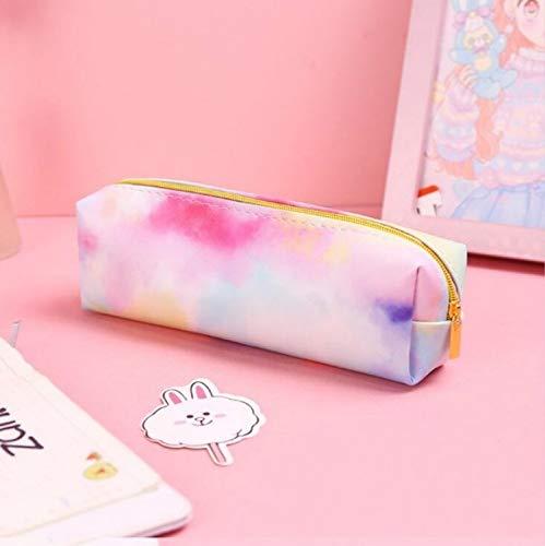 para la Escuela Lwq Suministros de Colores del Arco Iris Caja de lápiz de la PU de Ordenamiento del Bolso de Escuela 19.5x5.5cm wangrui