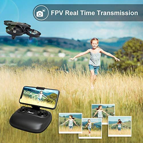 Potensic Mini Drone para Niños con Cámara, RC Quadcopter 2.4G 6 Ejes - Altitude Hold, Modo sin Cabeza, Control Remoto, Ajuste de Ruta, FPV en Tiempo Real, 2 Baterías, A20W