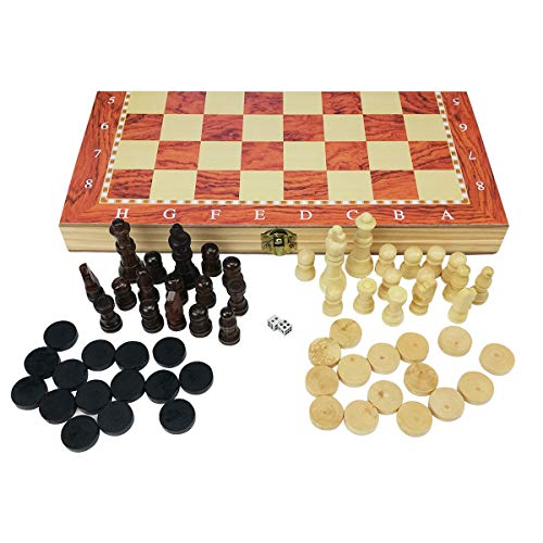 profesional ajedraz 3 en 1 Plegable de Madera Natural Juego de ajedrez/Damas/Backgammon Set 34X34