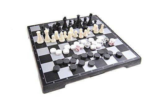 Quantum Abacus Juego de Mesa magnético 3-en-1 (tamaño de Viaje): Ajedrez, Damas, Backgammon - Piezas magnéticas, Tablero Plegable, 20cm x 20cm x 2cm, Mod. SC24810 (DE)