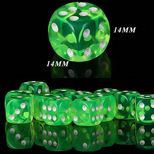 SAIYU 60 PCS Juego de Dados de 6 Caras Juego de Dados rectangulares Transparentes de 6 Caras Juego de 6 Dados de Colores con bolsitas Extra Delgadas para Juegos de matemáticas, Casino, Juegos Fiestas