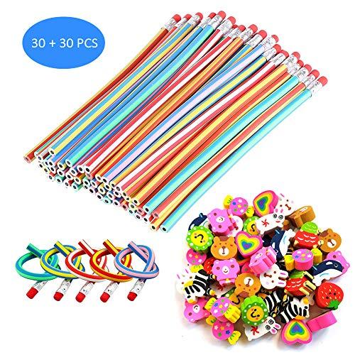 Sunarrive 30 Lapices Flexibles con 30 Goma de Borrar - Material Escolar Kawaii - Piñatas de Cumpleaños - Fiesta Cumpleaños Regalos para Niños Niña Infantiles Colegio