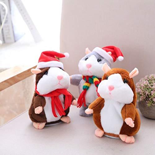 Sunnyflowk Grabación Hamster Christmas aprende a Hablar y a Cambiar la Voz para asentir con la Cabeza el pequeño Peluche de hámster (marrón Oscuro Rojo Navidad)