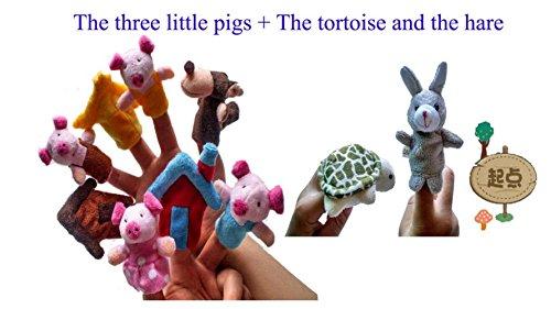 Udane Juguete de Dedos Diez Piezas Los Tres cerditos y La Tortuga y los niños liebres Puppets Finger